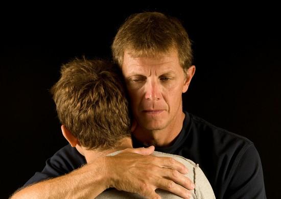 hug father son